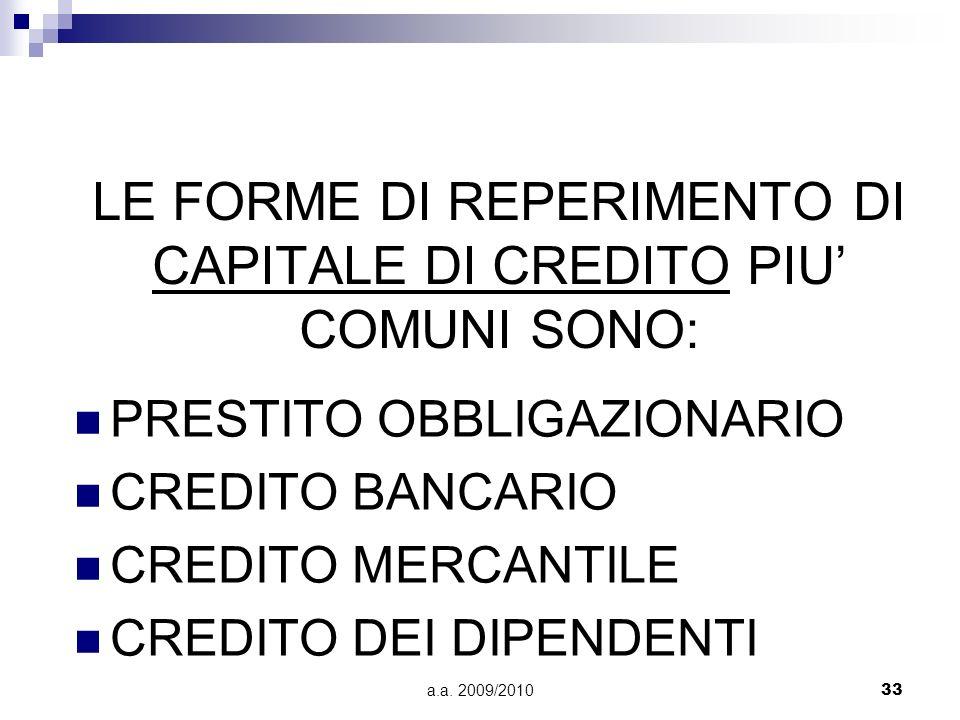 LE FORME DI REPERIMENTO DI CAPITALE DI CREDITO PIU' COMUNI SONO: