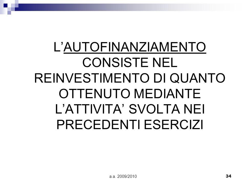 L'AUTOFINANZIAMENTO CONSISTE NEL REINVESTIMENTO DI QUANTO OTTENUTO MEDIANTE L'ATTIVITA' SVOLTA NEI PRECEDENTI ESERCIZI