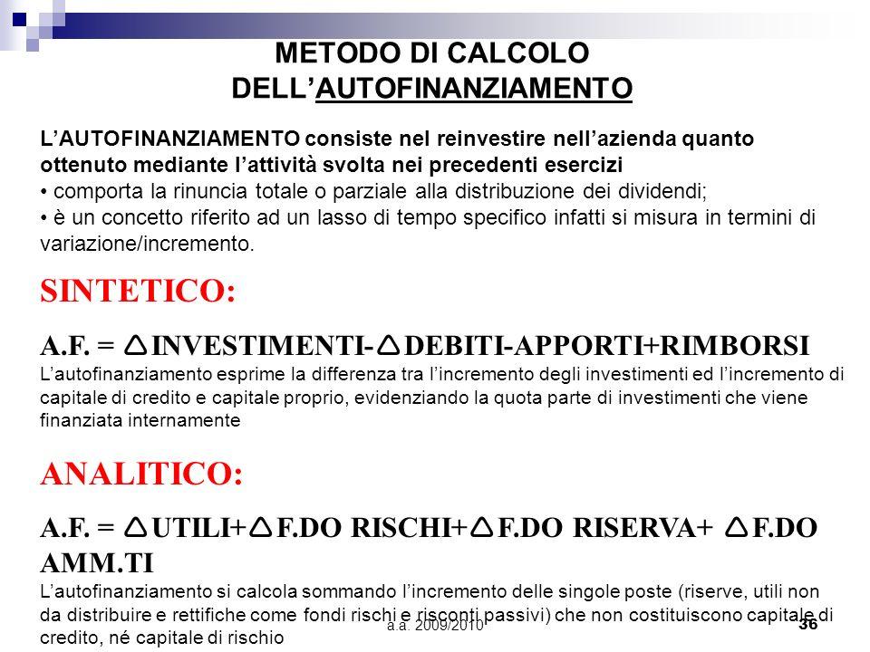 METODO DI CALCOLO DELL'AUTOFINANZIAMENTO
