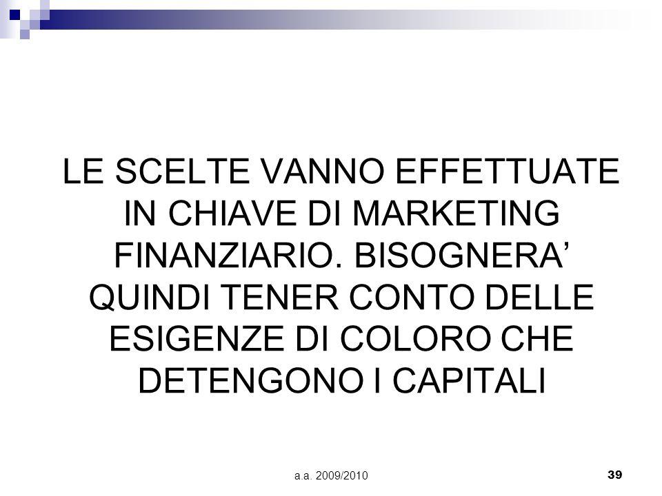 LE SCELTE VANNO EFFETTUATE IN CHIAVE DI MARKETING FINANZIARIO