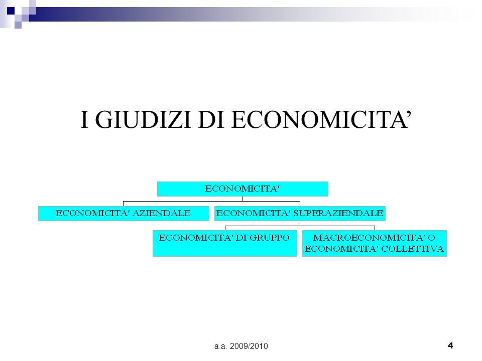 I GIUDIZI DI ECONOMICITA'