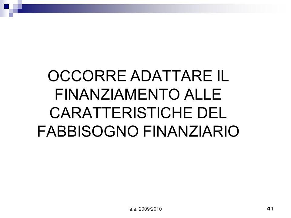 OCCORRE ADATTARE IL FINANZIAMENTO ALLE CARATTERISTICHE DEL FABBISOGNO FINANZIARIO