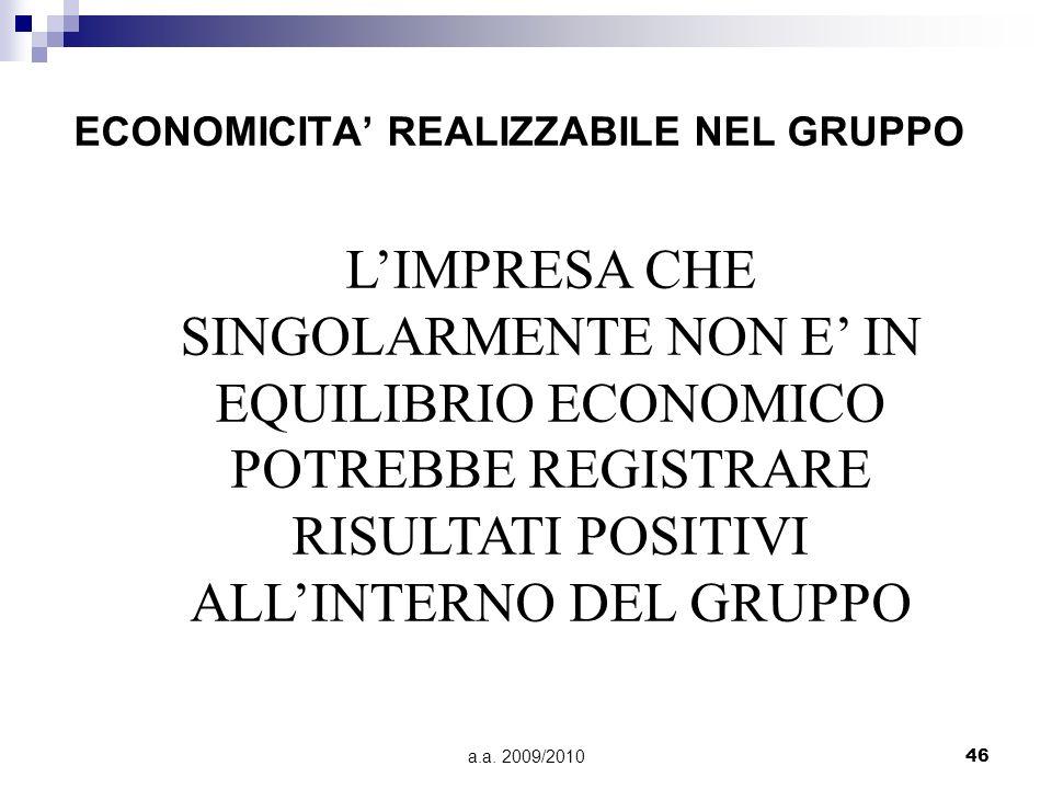 ECONOMICITA' REALIZZABILE NEL GRUPPO