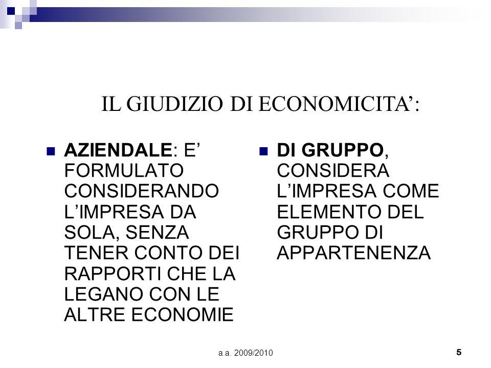 IL GIUDIZIO DI ECONOMICITA':