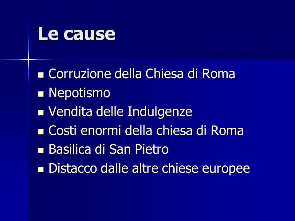 Le cause Corruzione della Chiesa di Roma Nepotismo
