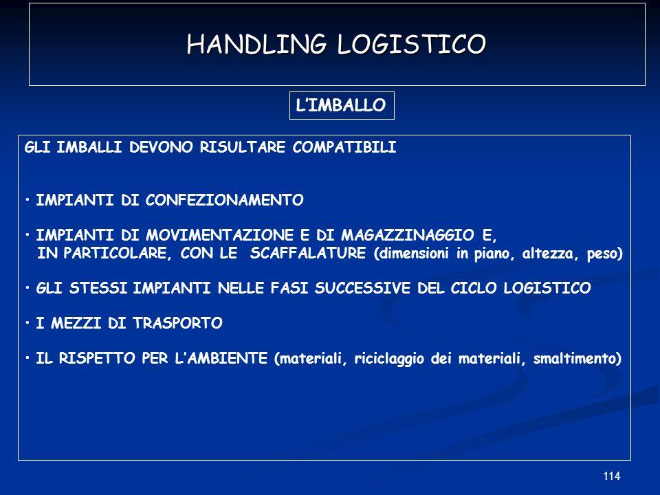 HANDLING LOGISTICO L'IMBALLO GLI IMBALLI DEVONO RISULTARE COMPATIBILI