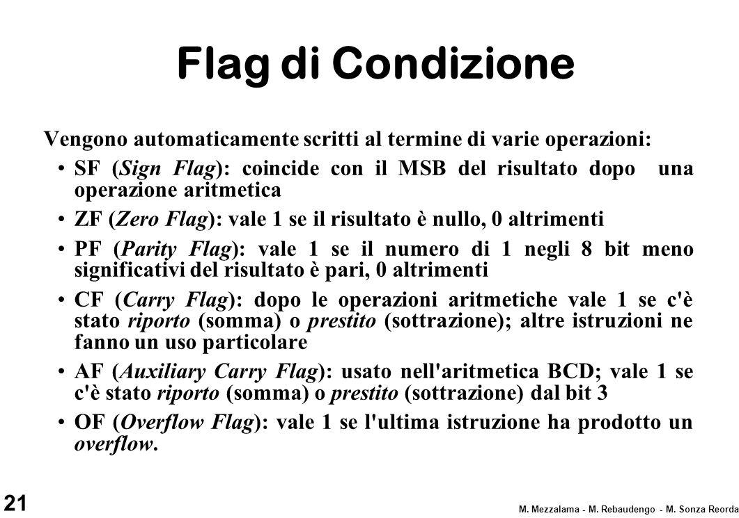 Flag di Condizione Vengono automaticamente scritti al termine di varie operazioni: