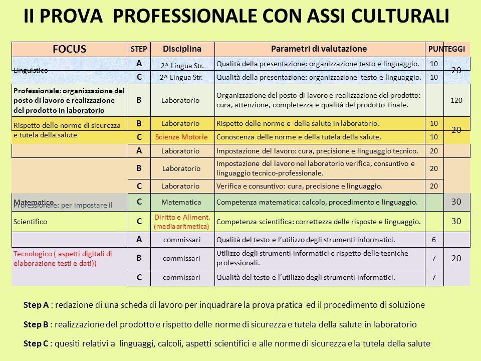 II PROVA PROFESSIONALE CON ASSI CULTURALI