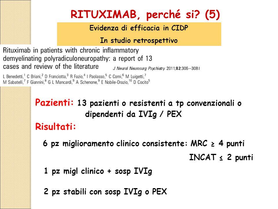 RITUXIMAB, perché si (5) Evidenza di efficacia in CIDP. In studio retrospettivo. Pazienti: 13 pazienti o resistenti a tp convenzionali o.