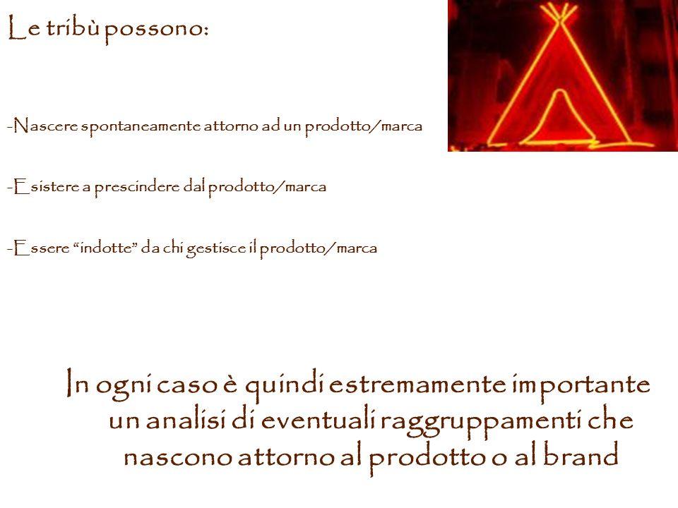 Le tribù possono: Nascere spontaneamente attorno ad un prodotto/marca. Esistere a prescindere dal prodotto/marca.