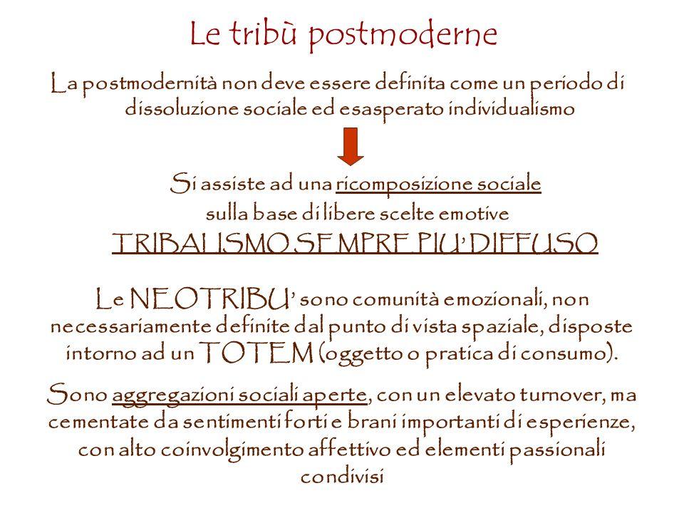 Le tribù postmoderne La postmodernità non deve essere definita come un periodo di dissoluzione sociale ed esasperato individualismo.