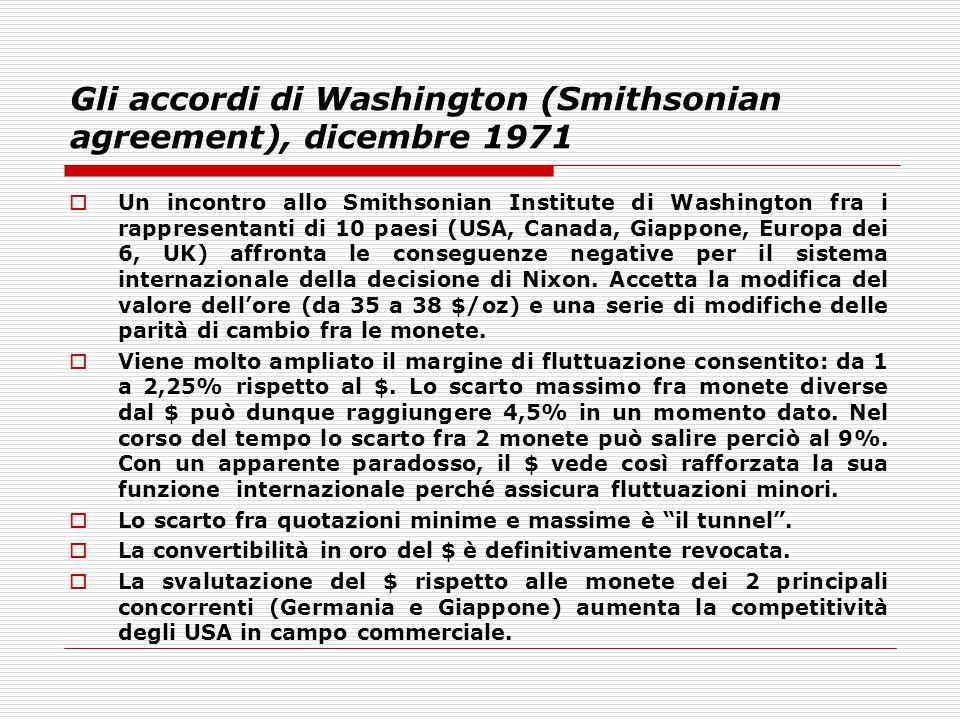 Gli accordi di Washington (Smithsonian agreement), dicembre 1971