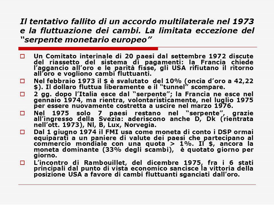 Il tentativo fallito di un accordo multilaterale nel 1973 e la fluttuazione dei cambi. La limitata eccezione del serpente monetario europeo