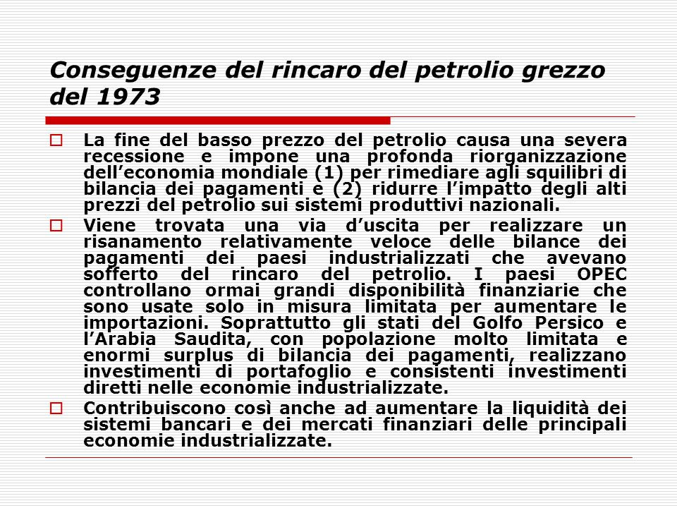 Conseguenze del rincaro del petrolio grezzo del 1973