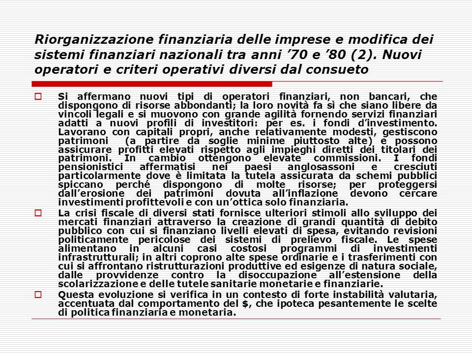 Riorganizzazione finanziaria delle imprese e modifica dei sistemi finanziari nazionali tra anni '70 e '80 (2). Nuovi operatori e criteri operativi diversi dal consueto