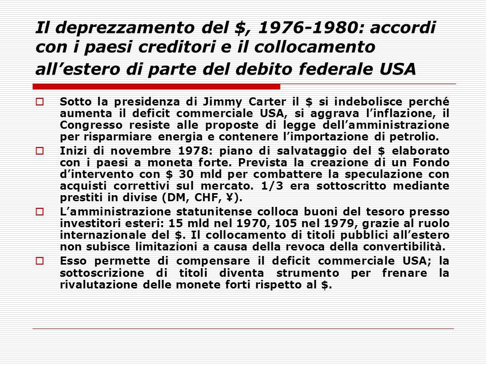 Il deprezzamento del $, 1976-1980: accordi con i paesi creditori e il collocamento all'estero di parte del debito federale USA
