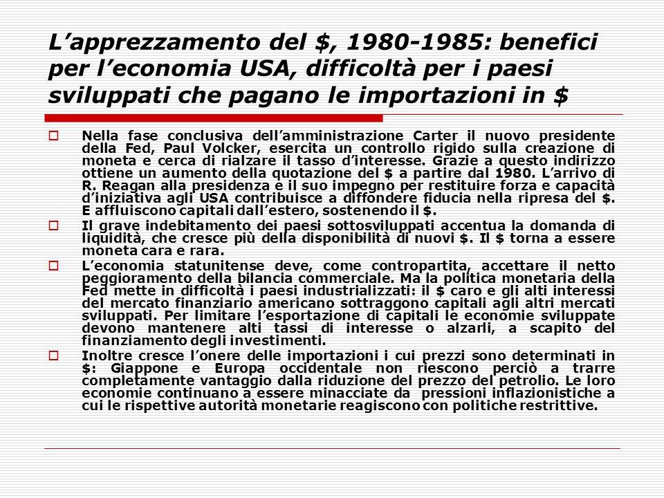 L'apprezzamento del $, 1980-1985: benefici per l'economia USA, difficoltà per i paesi sviluppati che pagano le importazioni in $
