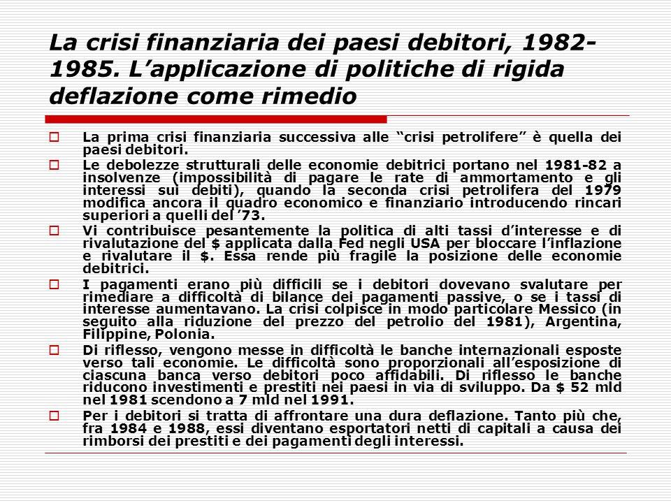 La crisi finanziaria dei paesi debitori, 1982-1985