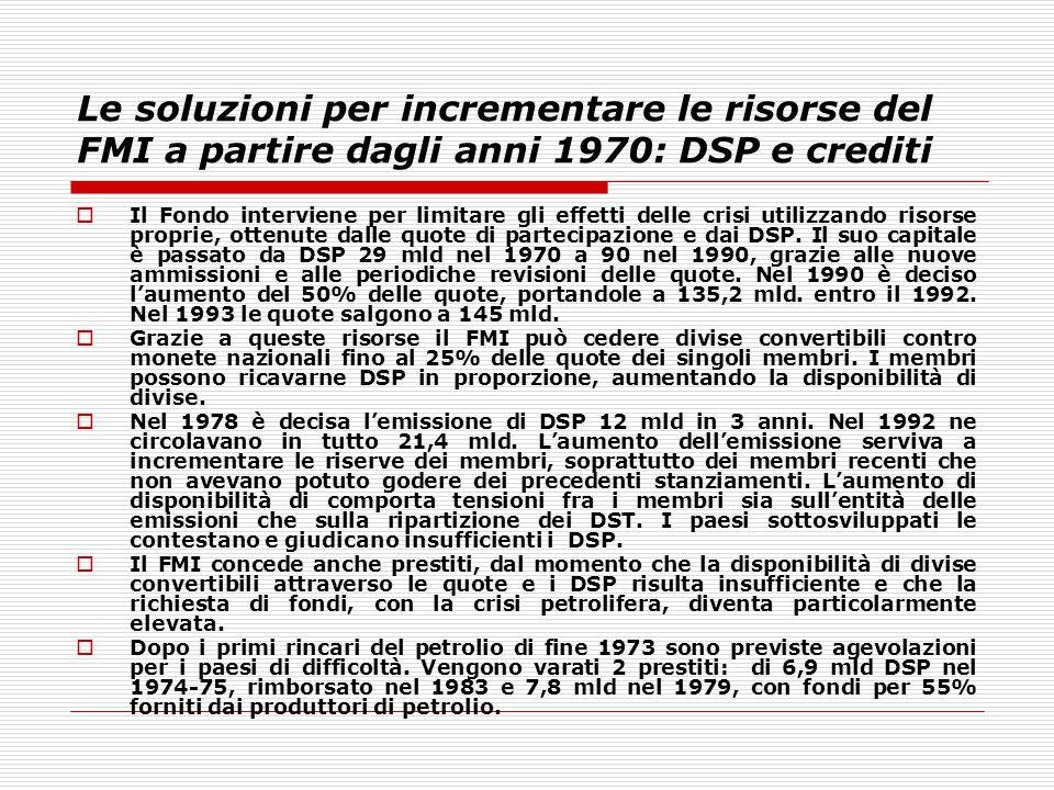 Le soluzioni per incrementare le risorse del FMI a partire dagli anni 1970: DSP e crediti