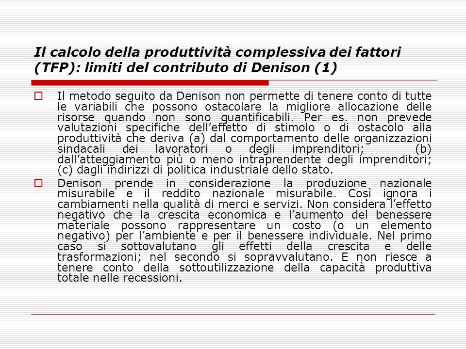 Il calcolo della produttività complessiva dei fattori (TFP): limiti del contributo di Denison (1)