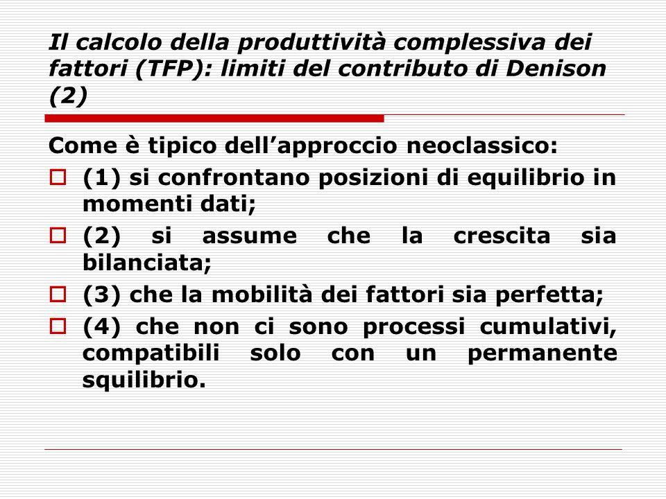 Il calcolo della produttività complessiva dei fattori (TFP): limiti del contributo di Denison (2)