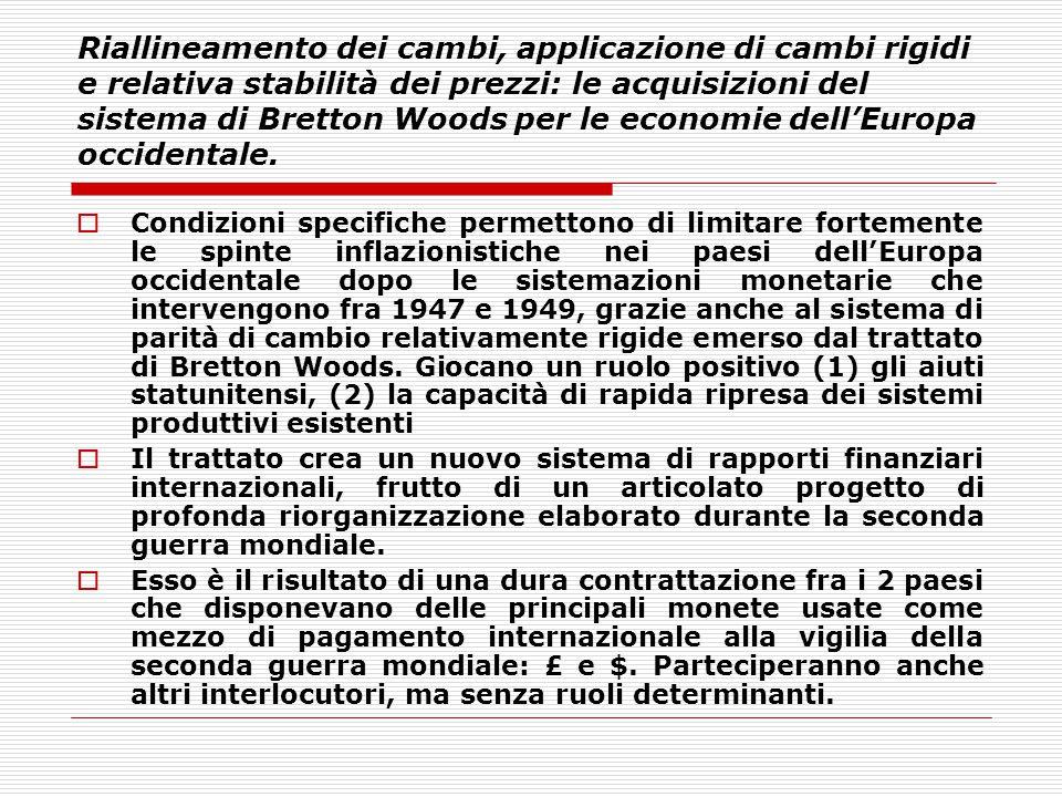 Riallineamento dei cambi, applicazione di cambi rigidi e relativa stabilità dei prezzi: le acquisizioni del sistema di Bretton Woods per le economie dell'Europa occidentale.