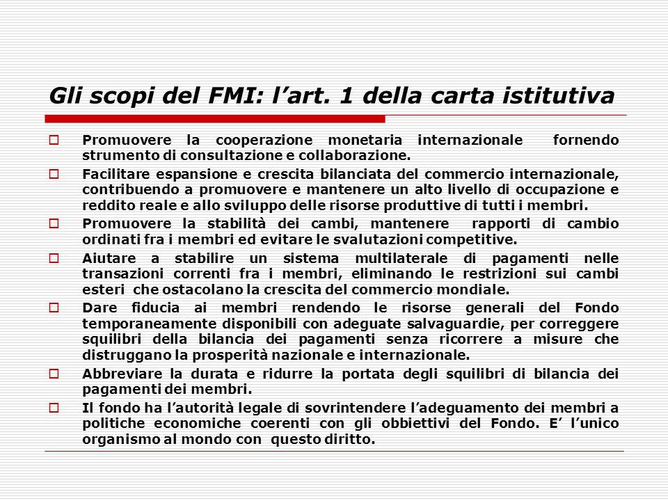 Gli scopi del FMI: l'art. 1 della carta istitutiva