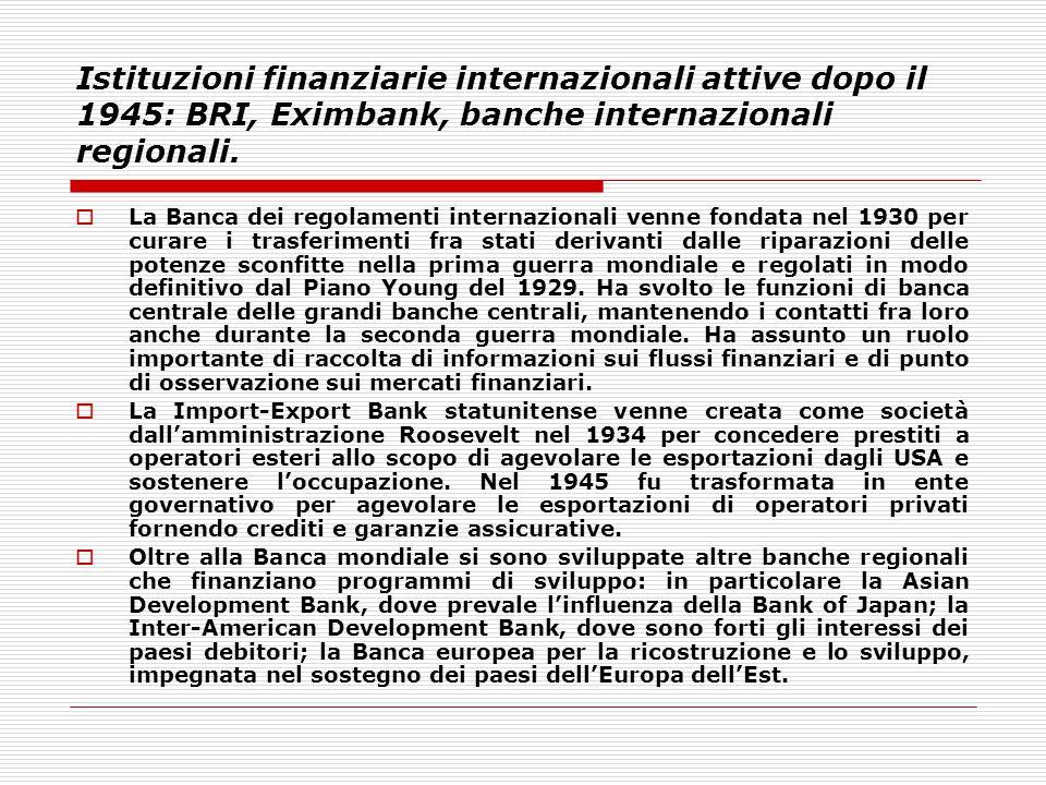 Istituzioni finanziarie internazionali attive dopo il 1945: BRI, Eximbank, banche internazionali regionali.