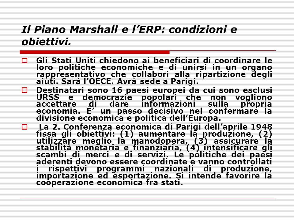 Il Piano Marshall e l'ERP: condizioni e obiettivi.