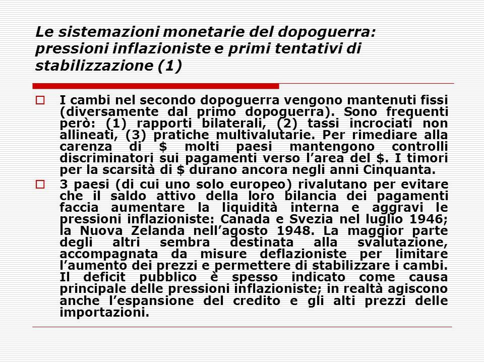 Le sistemazioni monetarie del dopoguerra: pressioni inflazioniste e primi tentativi di stabilizzazione (1)