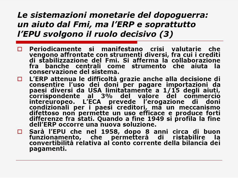 Le sistemazioni monetarie del dopoguerra: un aiuto dal Fmi, ma l'ERP e soprattutto l'EPU svolgono il ruolo decisivo (3)