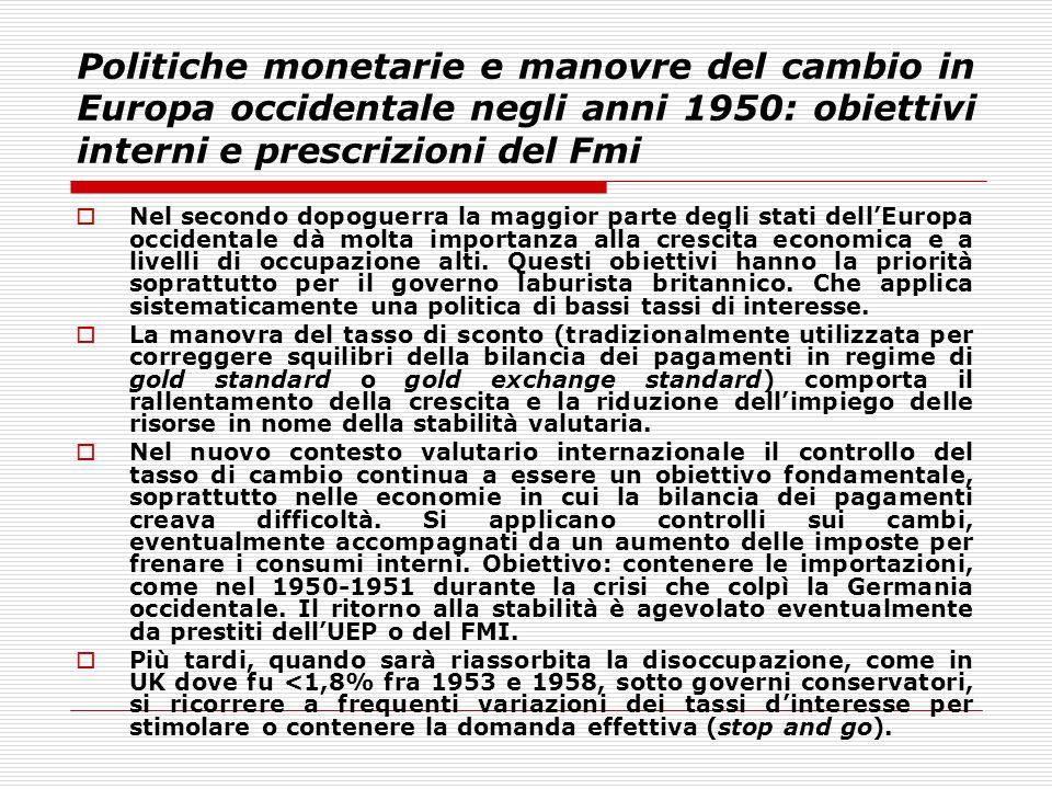 Politiche monetarie e manovre del cambio in Europa occidentale negli anni 1950: obiettivi interni e prescrizioni del Fmi