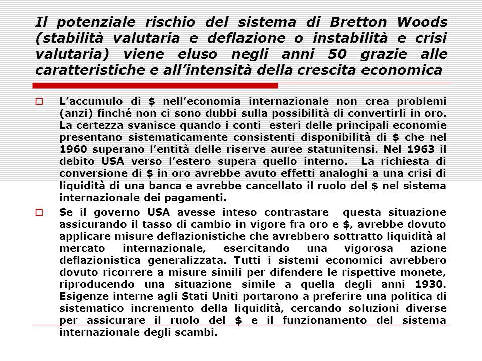 Il potenziale rischio del sistema di Bretton Woods (stabilità valutaria e deflazione o instabilità e crisi valutaria) viene eluso negli anni 50 grazie alle caratteristiche e all'intensità della crescita economica