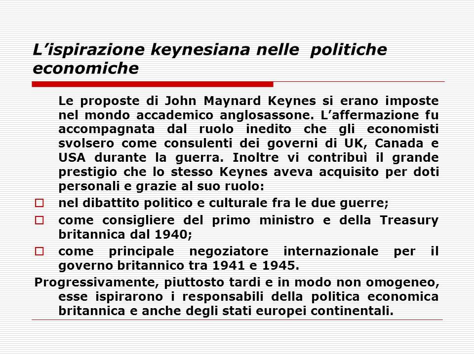 L'ispirazione keynesiana nelle politiche economiche