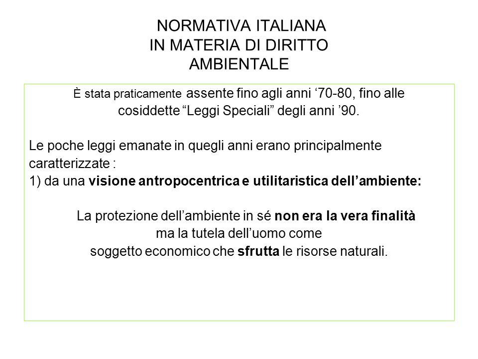 NORMATIVA ITALIANA IN MATERIA DI DIRITTO AMBIENTALE