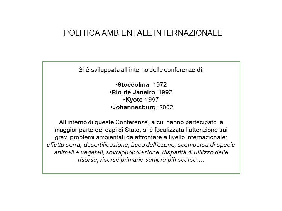 POLITICA AMBIENTALE INTERNAZIONALE
