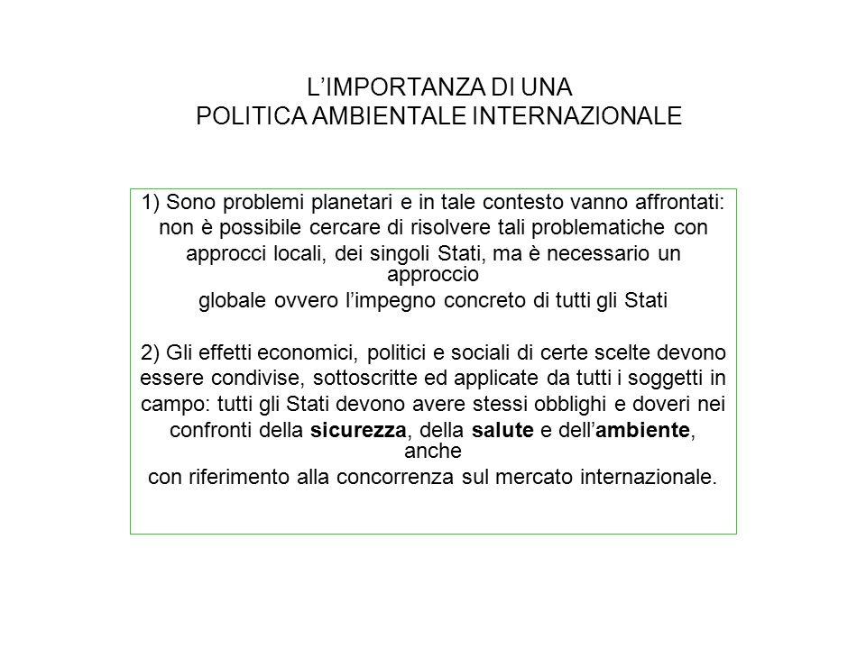 L'IMPORTANZA DI UNA POLITICA AMBIENTALE INTERNAZIONALE