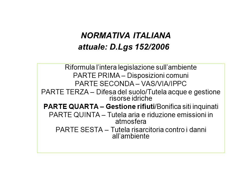 NORMATIVA ITALIANA attuale: D.Lgs 152/2006