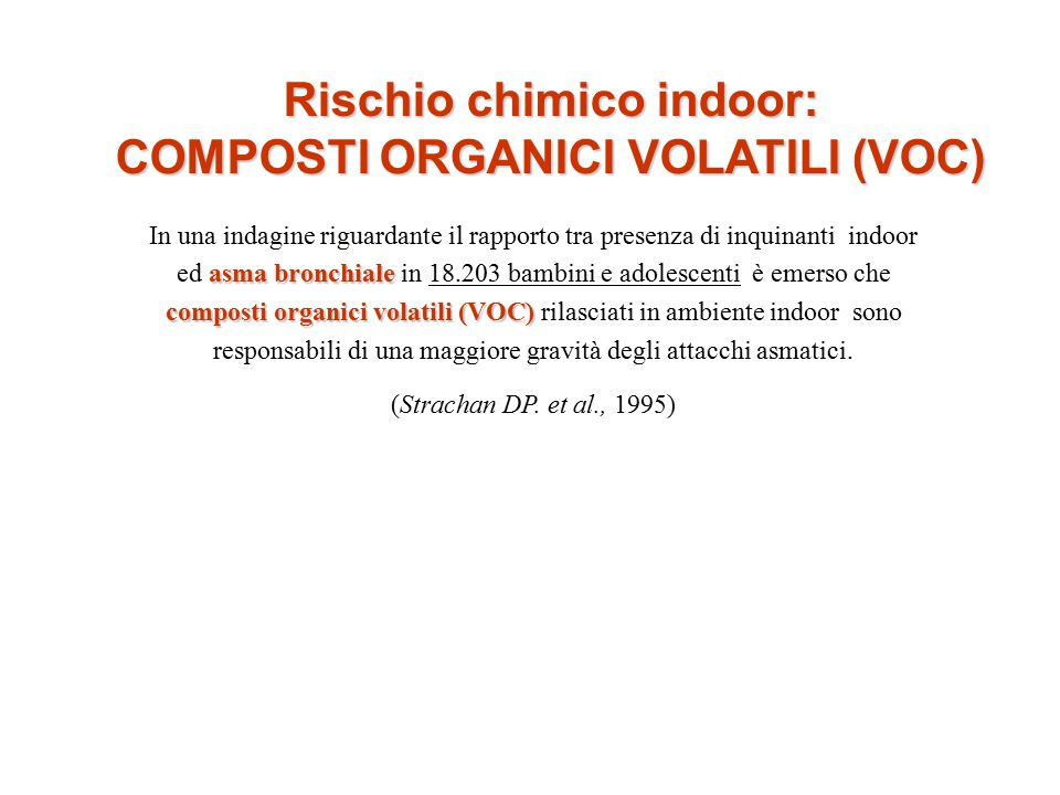 Rischio chimico indoor: COMPOSTI ORGANICI VOLATILI (VOC)