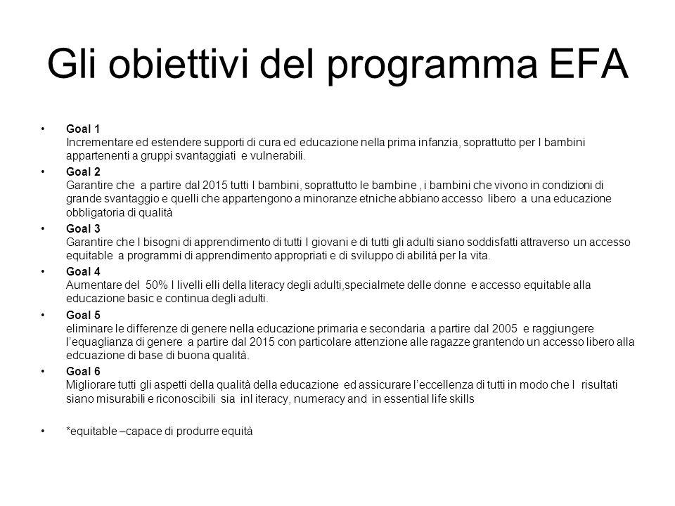 Gli obiettivi del programma EFA