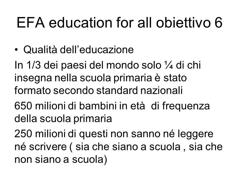 EFA education for all obiettivo 6
