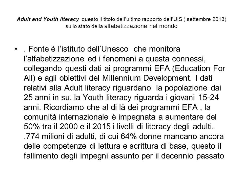 Adult and Youth literacy questo il titolo dell'ultimo rapporto dell'UIS ( settembre 2013) sullo stato della alfabetizzazione nel mondo