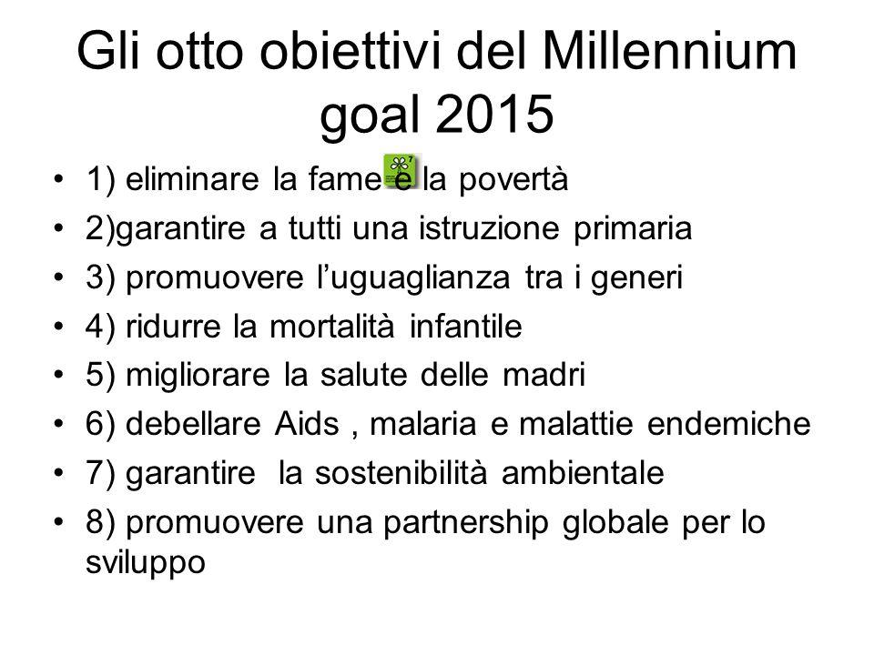 Gli otto obiettivi del Millennium goal 2015