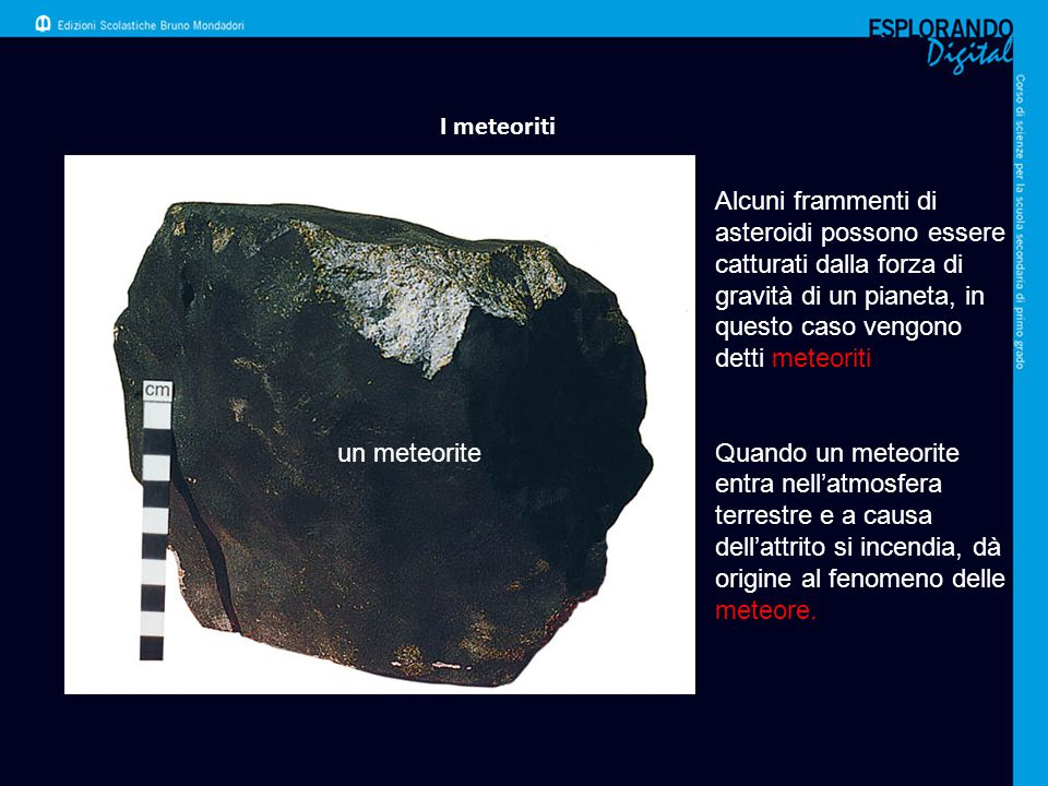 I meteoriti Alcuni frammenti di asteroidi possono essere catturati dalla forza di gravità di un pianeta, in questo caso vengono detti meteoriti.