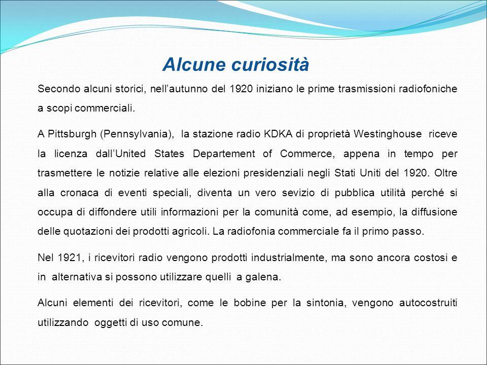 Alcune curiosità Secondo alcuni storici, nell'autunno del 1920 iniziano le prime trasmissioni radiofoniche a scopi commerciali.