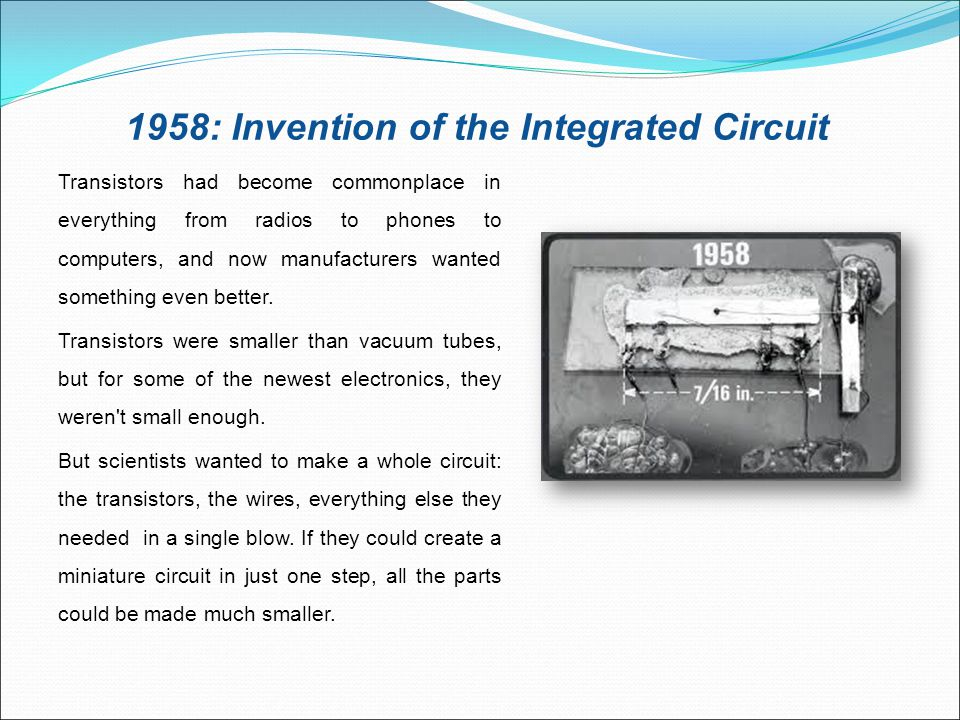 1958: Invention of the Integrated Circuit