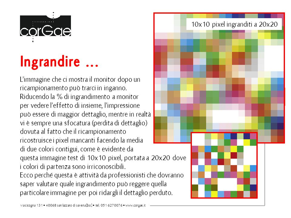 Ingrandire … 10x10 pixel ingranditi a 20x20