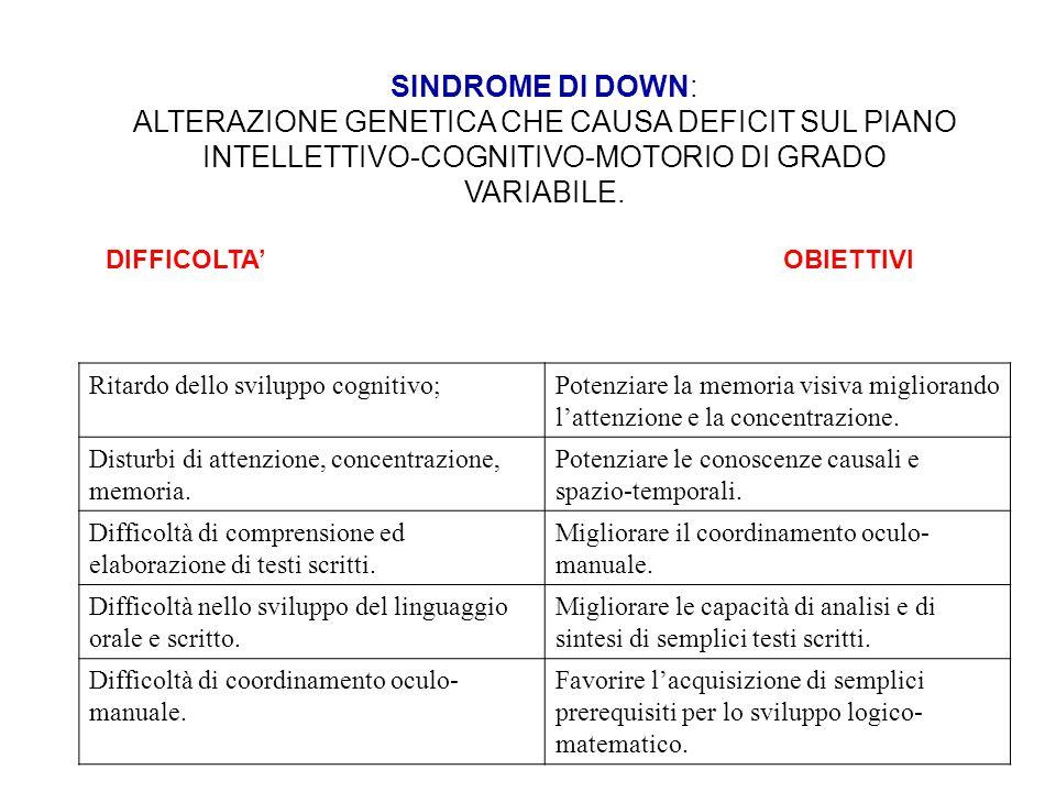 SINDROME DI DOWN: ALTERAZIONE GENETICA CHE CAUSA DEFICIT SUL PIANO INTELLETTIVO-COGNITIVO-MOTORIO DI GRADO VARIABILE.