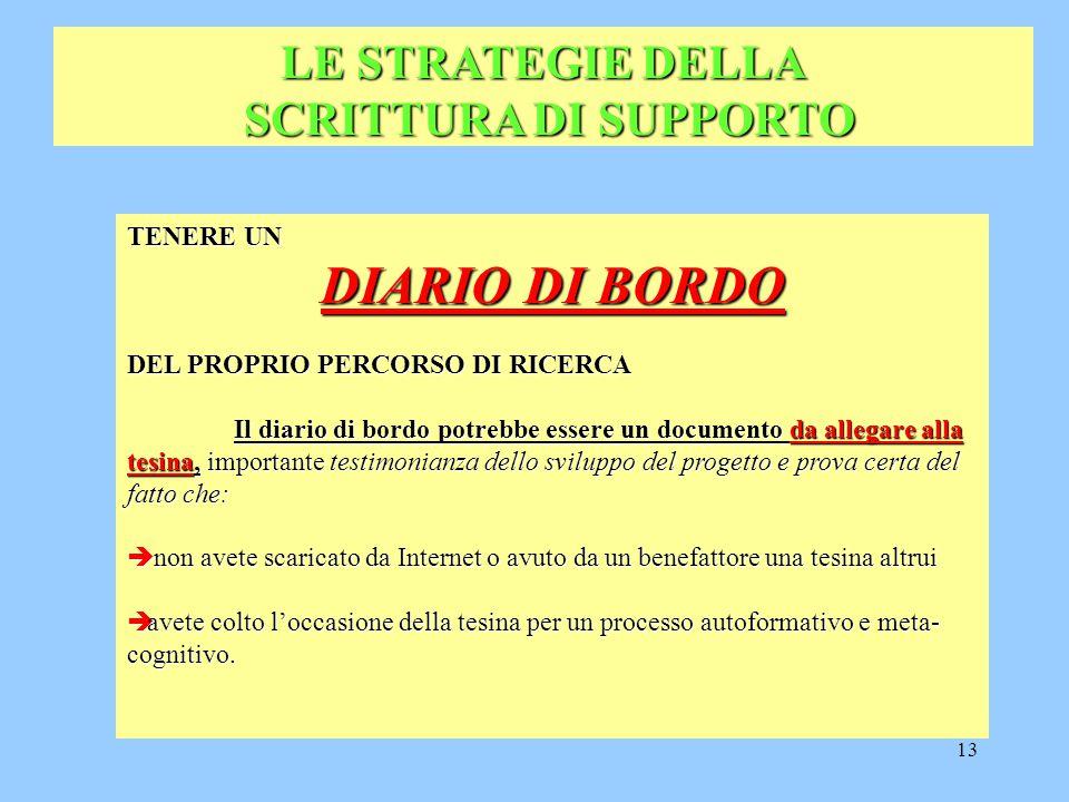 DIARIO DI BORDO LE STRATEGIE DELLA SCRITTURA DI SUPPORTO TENERE UN