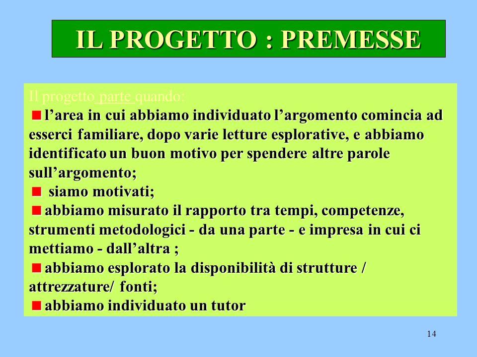 IL PROGETTO : PREMESSE Il progetto parte quando: